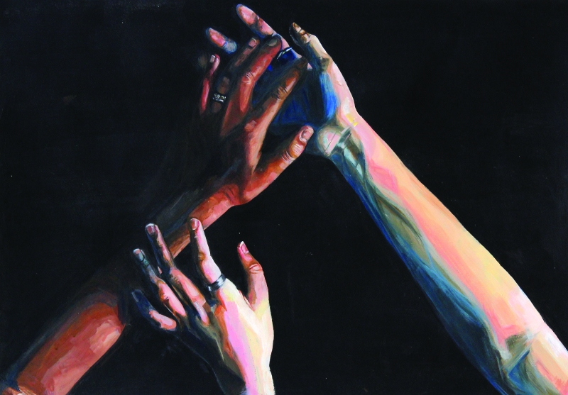 Acrylic Painting of Hands
