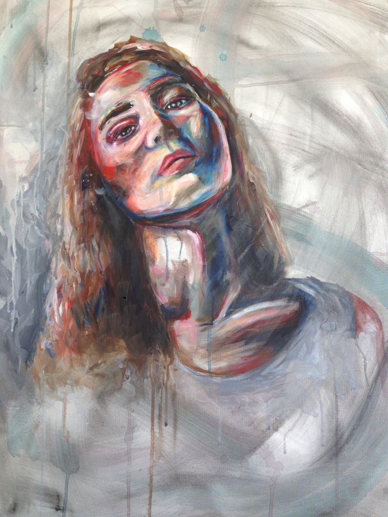 Mixed media Painting of Girl